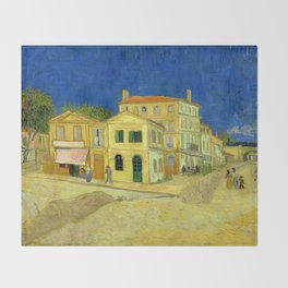 """Vincent Van Gogh """"The yellow house ('The street')"""" Throw Blanket"""