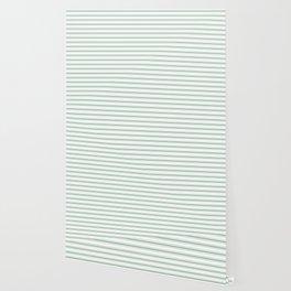 Moss Green and White Mattress Ticking Wide Striped Pattern Wallpaper
