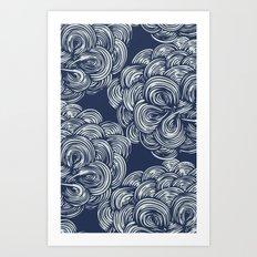 clouds - navy Art Print