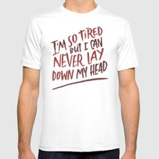 So Tired White MEDIUM Mens Fitted Tee