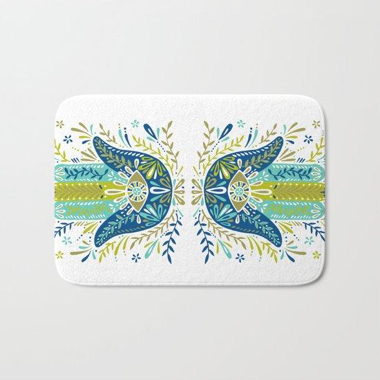 Hamsa Hand – Lime, Turquoise & Navy Palette Bath Mat