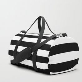 Black White Stripe Minimalist Duffle Bag
