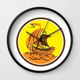 Sailing Galleon Ship Circle Retro Wall Clock