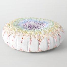 Rainbow Mandala Urban Decay Style - Vintage, Aged Pattern Floor Pillow