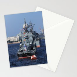 Warships moored on the Neva River. Aft / Stern of the ship. Day of the Russian Navy. Saint-Petersbur Stationery Cards