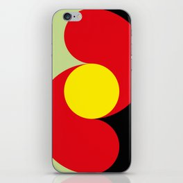 This is a sun splitting the sky in two sides, one black, one green. Spitting deep red round rays. iPhone Skin