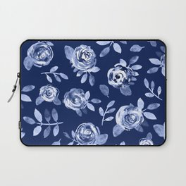 Hand painted navy blue white watercolor floral roses pattern Laptop Sleeve
