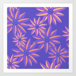Blue Small Bright Flowers Digital Pattern Art Print