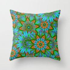 Boho Floral Pattern Throw Pillow
