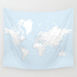 World map, highly detailed in light blue and white, square Wall Tapestry