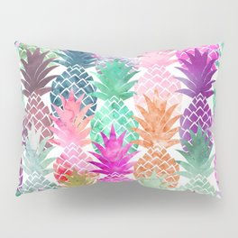 Bright exotic pineapples pastel watercolor pattern Pillow Sham