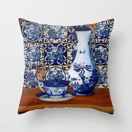 Blue Willow Stillife Throw Pillow