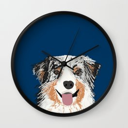 Australian Shepherd blue merle cute pet portrait dog person must have gifts for aussie owner  Wall Clock