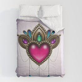 Heart of Stones - Victorian Tattoo Style Gems and Jewels Comforters