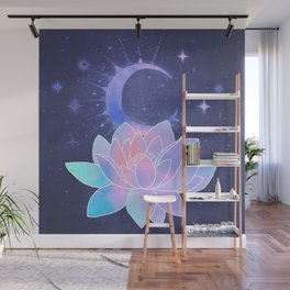 moon lotus flower Wall Mural