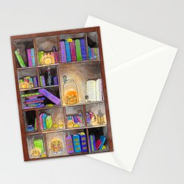 Bookshelves at night Stationery Cards