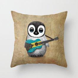 Baby Penguin Playing Bahamas Flag Acoustic Guitar Throw Pillow