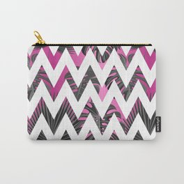 Abstract pink gray white chevron tropical monster leaves Carry-All Pouch
