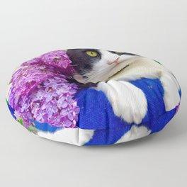 Orazio charming cat in the blue Floor Pillow