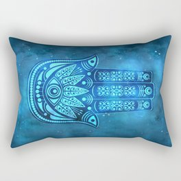Hamsa Hand Magic Eye Blue Watercolor Art Rectangular Pillow