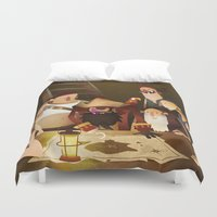 the goonies Duvet Covers featuring Secret Treasure by Mark Bird