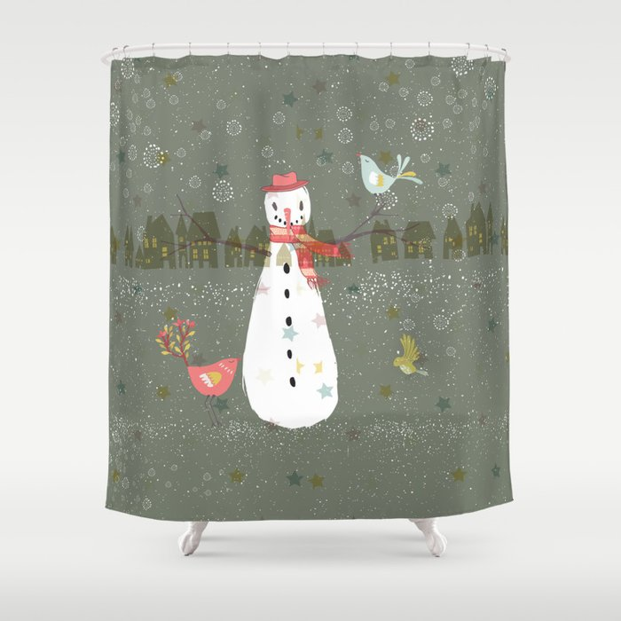 Cute Christmas Snowman Birds Winter Scene Shower Curtain