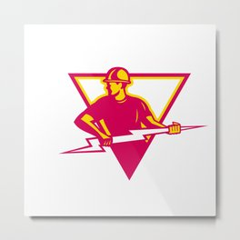 Power Lineman With Thunderbolt Triangle Metal Print