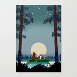 Bear and Fox kayaking on a wild forest river Canvas Print