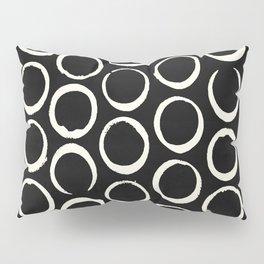 Polka Dots Circles Tribal Cream on Black Pillow Sham