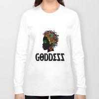 goddess Long Sleeve T-shirts featuring Goddess by RespecttheQueenDecor