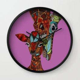 giraffe love orchid Wall Clock