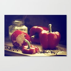 Fresh red peppers in retro still life Canvas Print