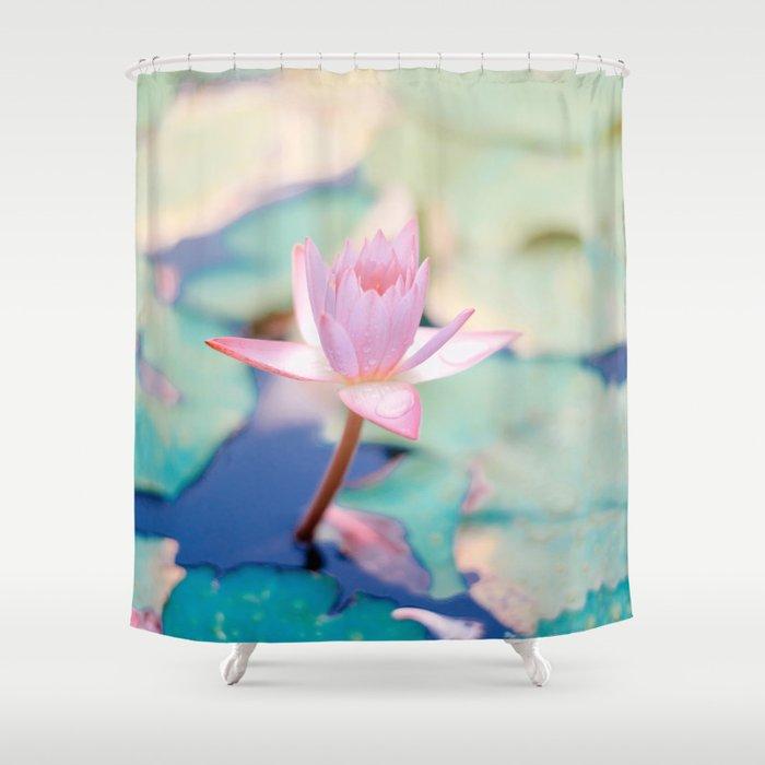 Cute Pink Blooming Lotus Shower Curtain