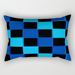 Blue & Black 3D Checkerboard Rectangular Pillow