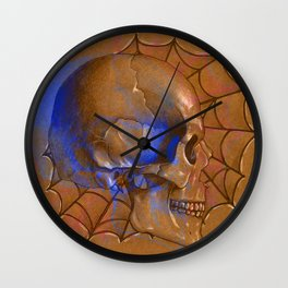 Electric Blue Traditional Skull Wall Clock