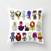 x men Throw Pillows featuring X MEN GROUP by Space Bat designs