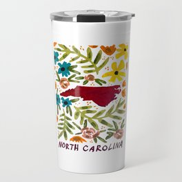 North Carolina + florals Travel Mug