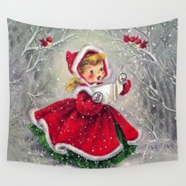 Vintage Christmas Girl Winter Forest Wall Tapestry