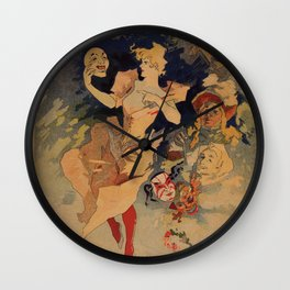 Comedy Theater 1900 by Jules Chéret Wall Clock