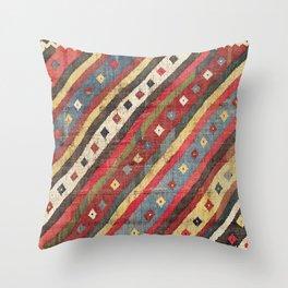 Luri  Antique Fars Southwest Persian Kilim Print Throw Pillow