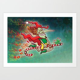 Halloween witch flying on a Christmas candy cane Art Print