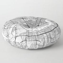 New Orleans Map White Floor Pillow