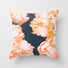 Peach Colored Flowers Dark Background #decor #society6 #buyart Throw Pillow