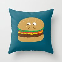 hamburger Throw Pillows featuring Sad Hamburger by Chris Piascik