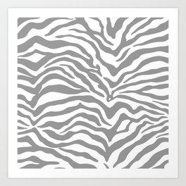 Zebra Print Gray Art Print