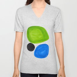 Mid Century Vintage Abstract Minimalist Colorful Pop Art Lime Green Phthalo Blue Black Bubbles Unisex V-Neck
