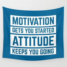 Motivation Gets You Started Gym Quote Wall Tapestry
