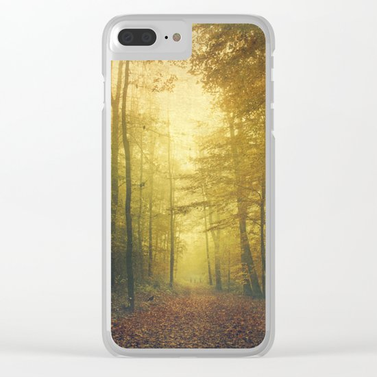 fall morning forest Clear iPhone Case