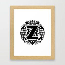 Letter Z monogram wildwood Framed Art Print