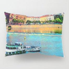 Prague boats watercolor Pillow Sham
